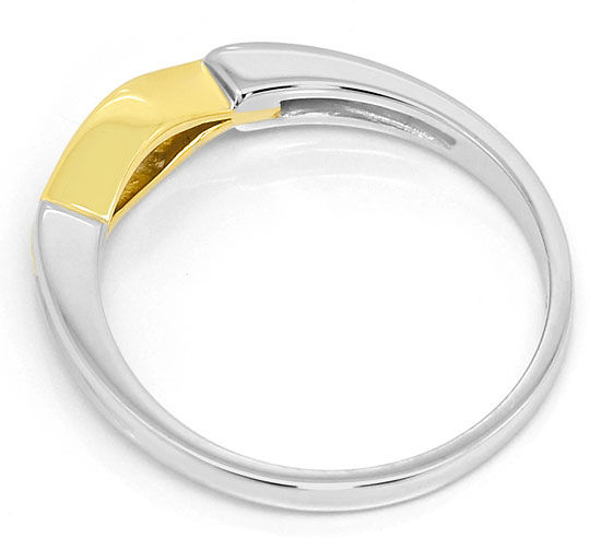 Foto 3, Designer Brillant Ring 0,10ct River 14K Gelb Weiss Gold, S3267