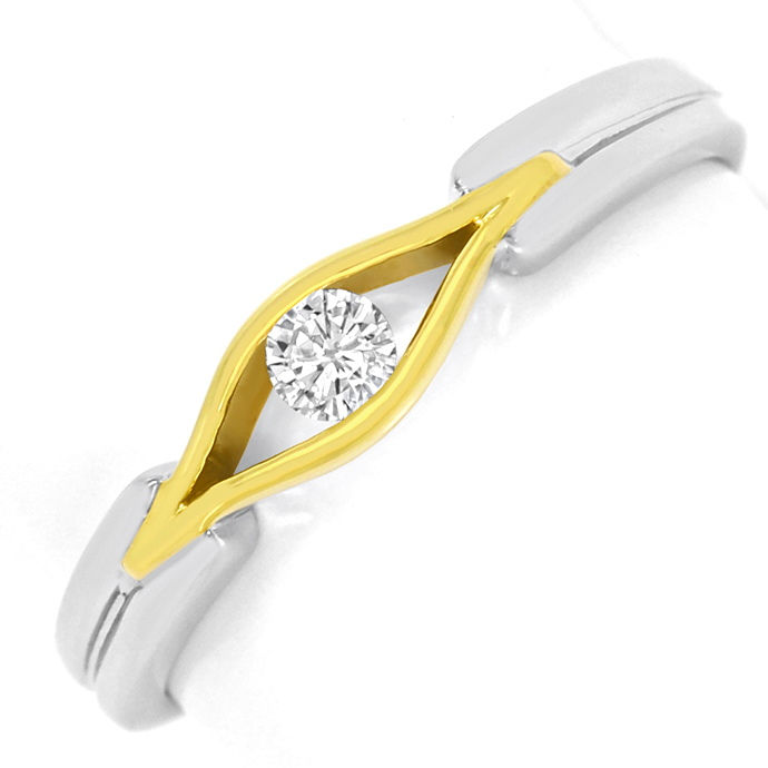 Designer Brillant Ring 0,10ct River 14K Gelb Weiss Gold, Designer Ring