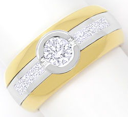 Foto 1 - Ring mit Brillanten und Princess Diamanten Bicolor Gold, S3269