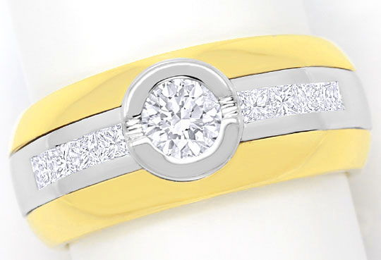 Foto 2 - Ring mit Brillanten und Princess Diamanten Bicolor Gold, S3269