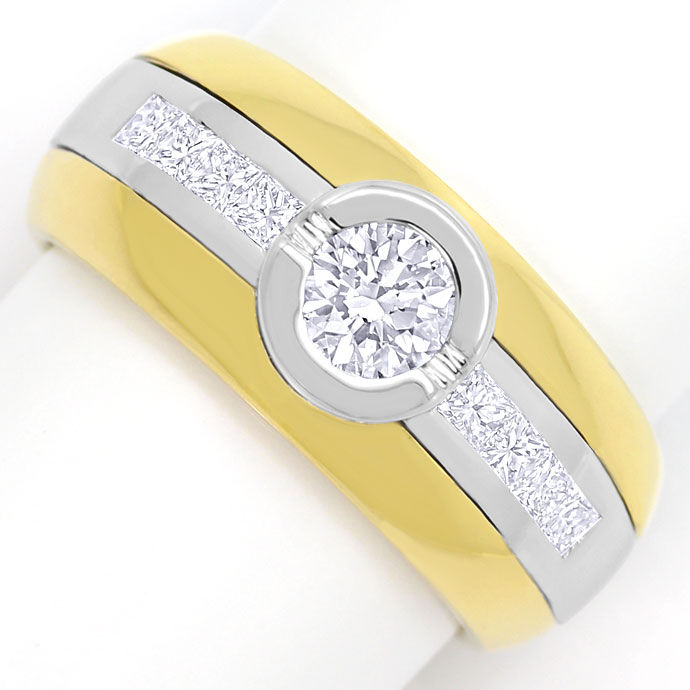Ring mit Brillanten und Princess Diamanten Bicolor Gold, Designer Ring