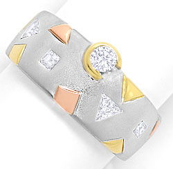Foto 1, Designer Bandring Brillant Triangel  Princess Diamanten, S3270