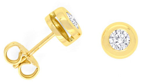 Foto 1, Brillanten-Diamanten-Ohrstecker 0,42ct 18K Gold, Luxus!, S3292