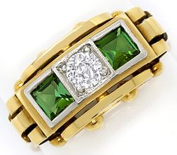Foto 1, Ring antik 0,38ct Diamant 0,85ct Turmaline, Gold Platin, S3301