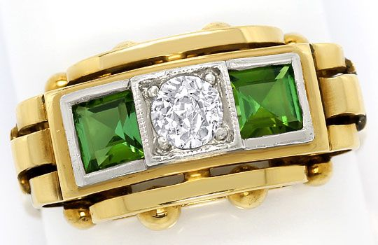 Foto 2, Ring antik 0,38ct Diamant 0,85ct Turmaline, Gold Platin, S3301