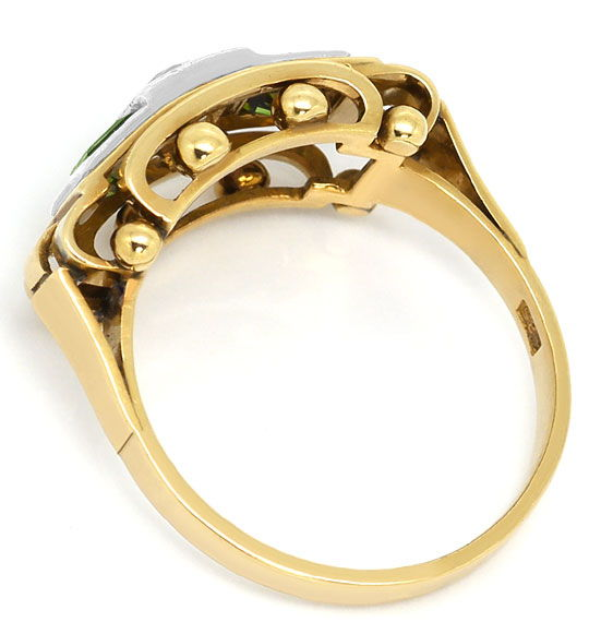 Foto 3 - Ring antik 0,38ct Diamant 0,85ct Turmaline, Gold Platin, S3301