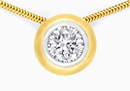 Foto 2, Brillantkollier 1,13ct Collier 18K Gold Bicolor Schmuck, S3314
