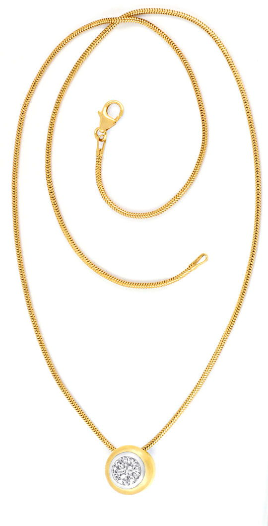 Foto 4, Brillantkollier 1,13ct Collier 18K Gold Bicolor Schmuck, S3314