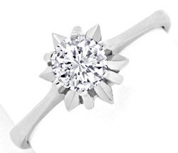 Foto 1, Brillant Ring 0,46ct Diamant, 18K Weissgold Luxus! Neu!, S3317