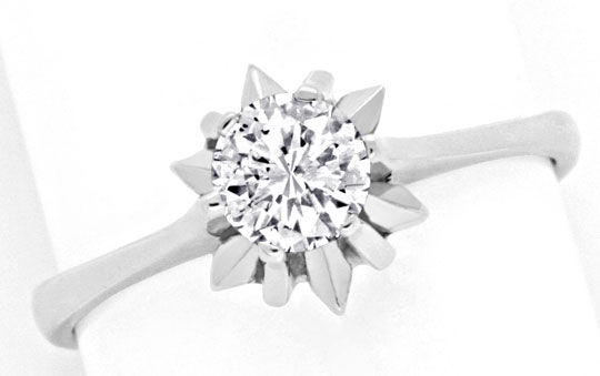 Foto 2, Brillant-Ring 0,46ct Diamant, 18K Weissgold Luxus! Neu!, S3317