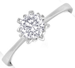 Foto 1, Diamant-Ring 0,54ct Brillant VVS1 Weissgold Luxus! Neu!, S3322