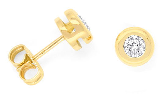 Foto 1, Brilliant Ohrstecker 0,43ct Diamanten, 18K Gold, Luxus!, S3334