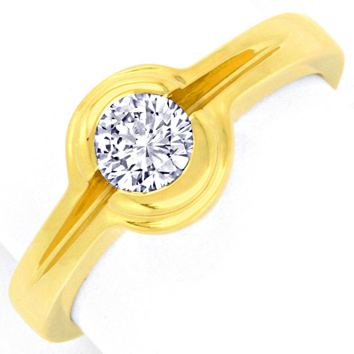 Funkelnder Brillant Ring 0,47ct River VVS, 18K Gelbgold, Designer Ring