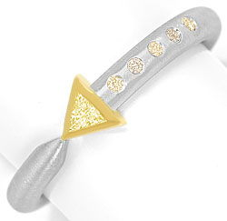 Foto 1, Platin-Gold-Ring 0,16ct Diamant-Triangel und Brillanten, S3349