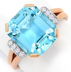 Foto 1, Sensationeller Aquamarin Diamantenring 6,7ct Handarbeit, S3365