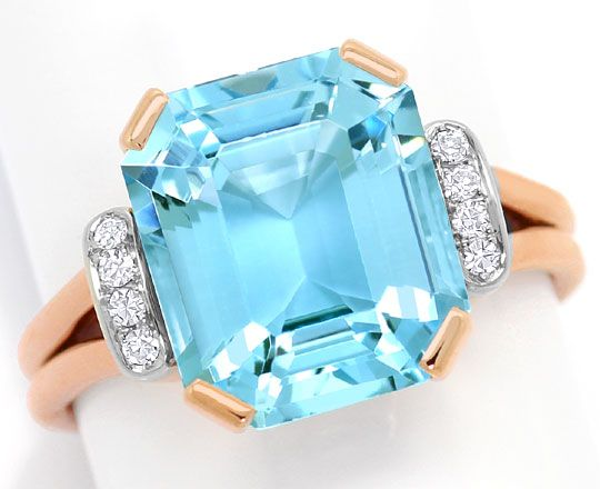 Foto 2, Sensationeller Aquamarin Diamantenring 6,7ct Handarbeit, S3365