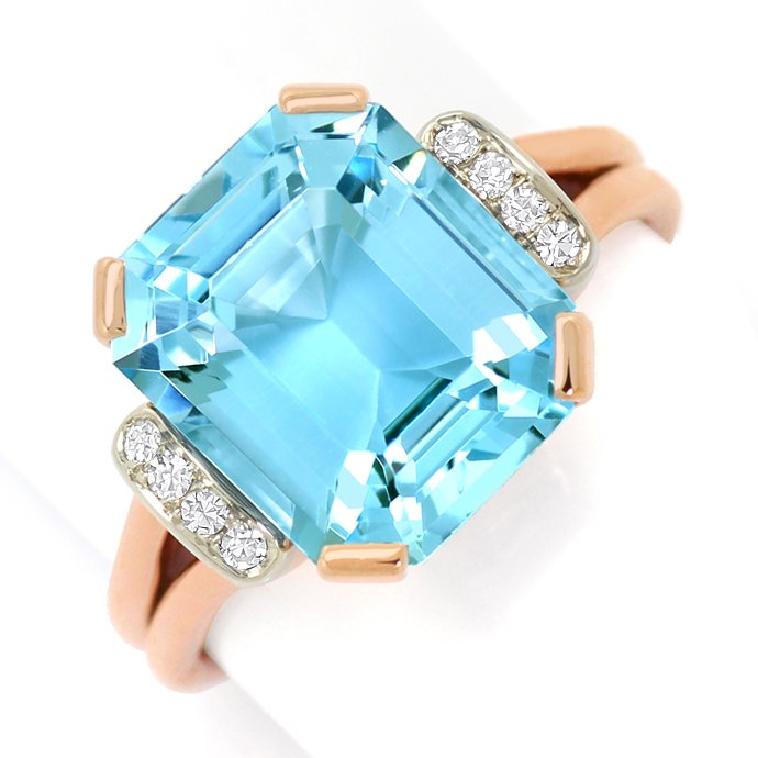 Sensationeller Aquamarin Diamantenring 6,7ct Handarbeit, Edelstein Farbstein Ring