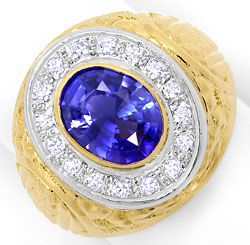 Foto 1, Grosser Ring mit 0,40ct Diamanten und Safir in 18K Gold, S3373