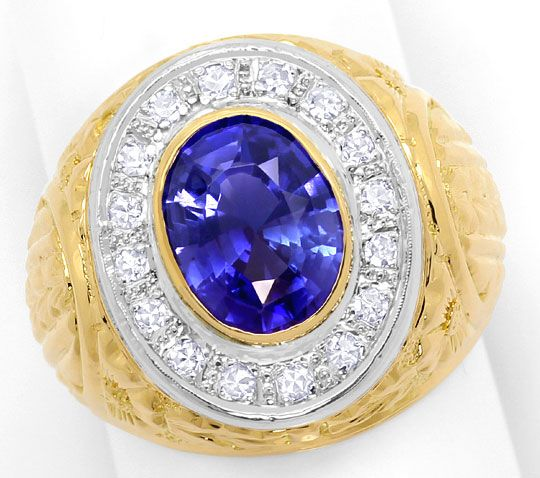 Foto 2, Grosser Ring mit 0,40ct Diamanten und Safir in 18K Gold, S3373