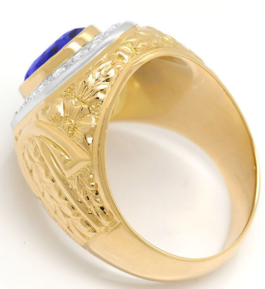 Foto 3, Grosser Ring mit 0,40ct Diamanten und Safir in 18K Gold, S3373