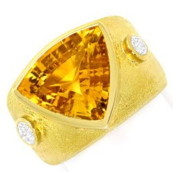 Foto 1, Dekorativer Gelbgold Ring 10ct Citrin 0,50ct Brillanten, S3378