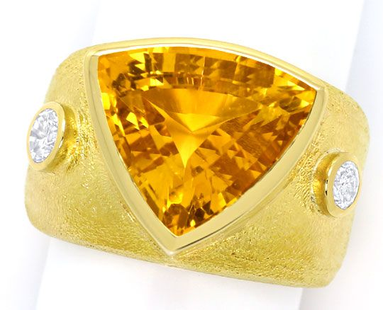 Foto 2, Dekorativer Gelbgold Ring 10ct Citrin 0,50ct Brillanten, S3378
