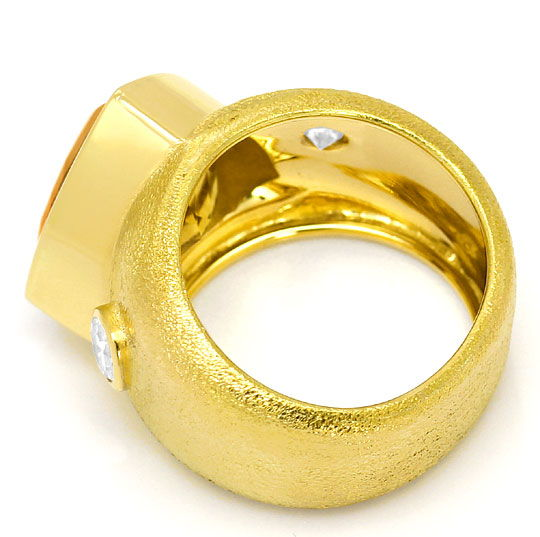 Foto 3, Dekorativer Gelbgold Ring 10ct Citrin 0,50ct Brillanten, S3378
