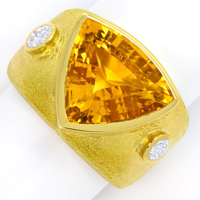Dekorativer Gelbgold Ring 10ct Citrin 0,50ct Brillanten, Edelstein Farbstein Ring