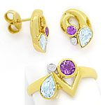 Schmuck Set Ring Ohrstecker Brillanten Topase Amethyste