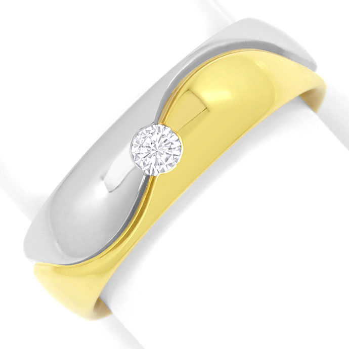 Foto 2, Brillant-Gold-Ring Wellen-Muster 0,10ct River Lupenrein, S3392