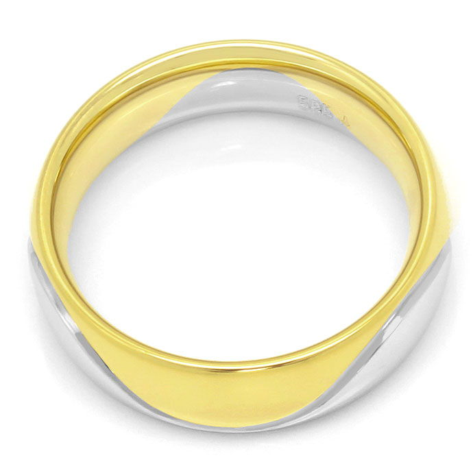 Foto 3, Brillant-Gold-Ring Wellen-Muster 0,10ct River Lupenrein, S3392