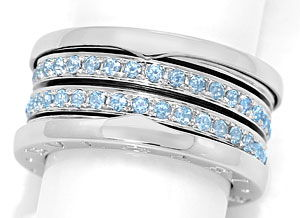 Foto 1, Original Bulgari Ring B Zero1 Blaue Topase in Weissgold, S3394