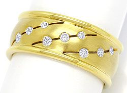 Foto 1, 0,18ct Brillianten in Gelbgold Ring Matt und Glanz, 14K, S3396