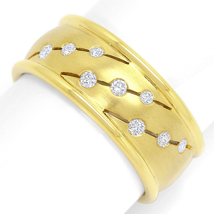 Foto 2, 0,18ct Brillianten in Gelbgold Ring Matt und Glanz, 14K, S3396