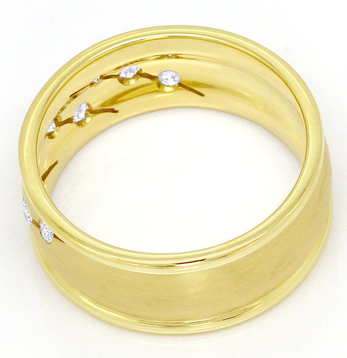 Foto 3, 0,18ct Brillianten in Gelbgold Ring Matt und Glanz, 14K, S3396