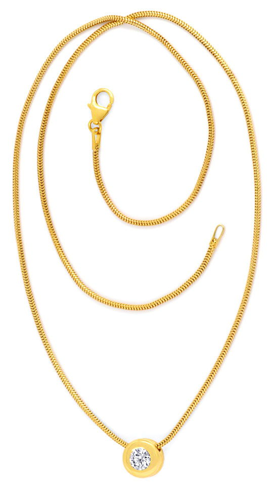 Foto 4, Brillant Kollier 0,39ct VS1 Collier 18K Gelbgold Luxus!, S3405