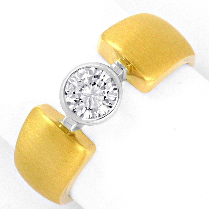 Designer Brilliant Ring 0,48ct E VVS 18K Bicolor Luxus!, Designer Ring