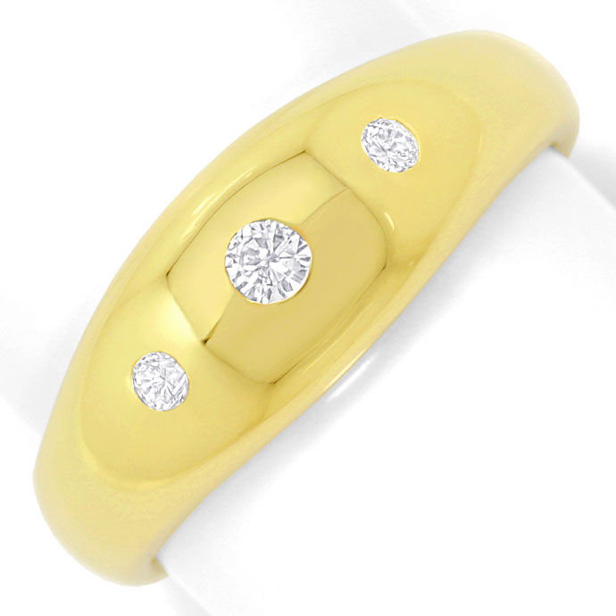 Foto 2, Gelbgold Bandring 0,14ct River Brillanten in massiv 14K, S3442