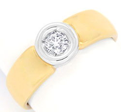 Foto 1, Brilliant Ring 0,18ct River Bicolor Goldring Luxus! Neu, S3456