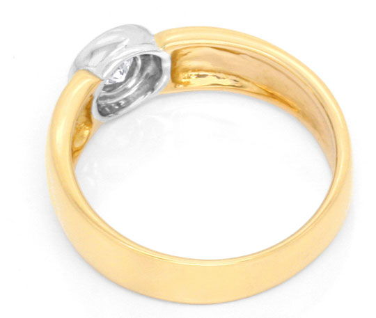 Foto 3, Brilliant Ring 0,18ct River Bicolor Goldring Luxus! Neu, S3456