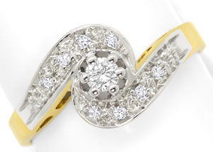 Foto 1, Damen Ring mit Brilliant und Diamanten in 14 Karat Gold, S3458