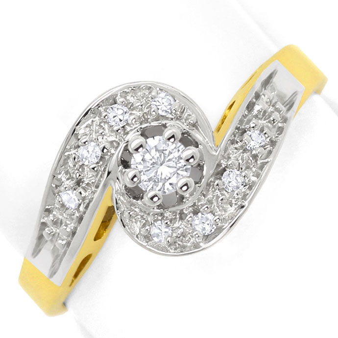 Foto 2, Damen Ring mit Brilliant und Diamanten in 14 Karat Gold, S3458