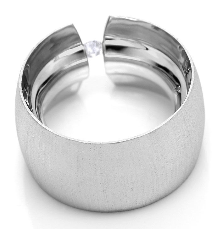 Foto 3, Spann Ring Super Breit Super Massiv 0,18ct Brillant 18K, S3461