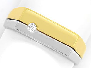 Foto 1, Gold Ring mit 0,06 Carat River Brilliant in 14K Bicolor, S3463