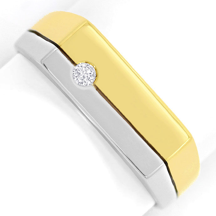 Foto 2, Gold Ring mit 0,06 Carat River Brilliant in 14K Bicolor, S3463