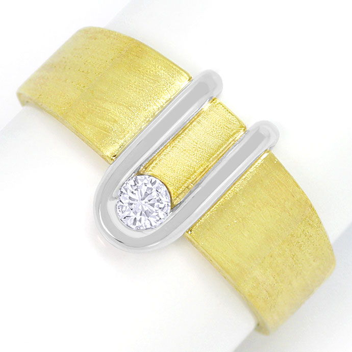 Foto 2, Designer Herren-Ring mit 0,18ct River Brillant 14K Gold, S3464