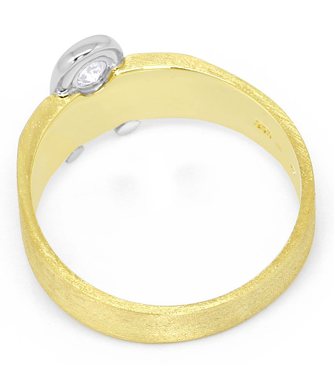 Foto 3, Designer Herren-Ring mit 0,18ct River Brillant 14K Gold, S3464