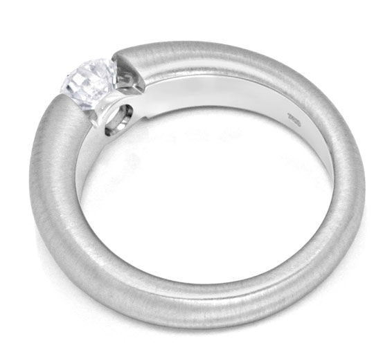 Foto 3, Brillant-Spannring 0,64ct River-E 18K Weiss-Gold Luxus!, S3472