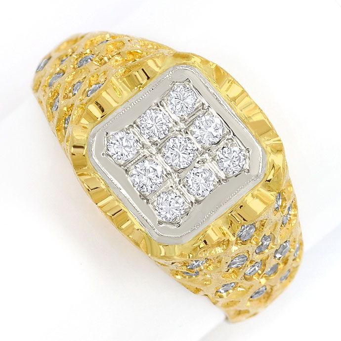 Foto 2, Herren-Siegelring mit Brillanten und Diamanten 18K Gold, S3473