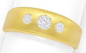 Foto 1 - Mattierter Goldbandring mit 0,30ct River Brillanten 14K, S3479